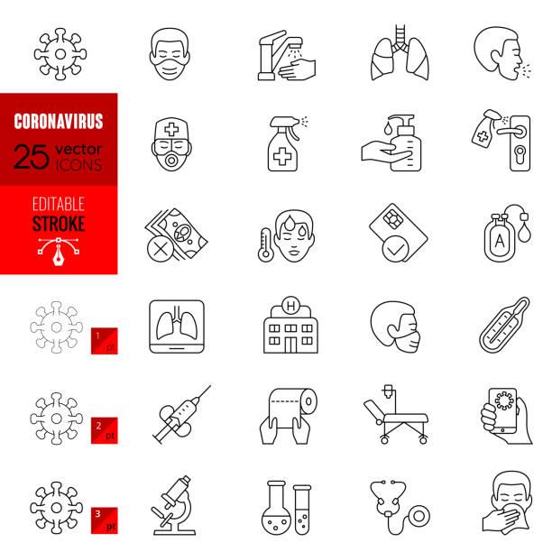 Coronavirus Editable Stroke Line Icons vector art illustration
