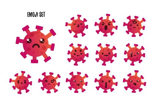 Coronavirus emoji set, covid19 emoticon, virus icon design, graphic symbol