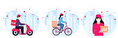 COVID-19. Coronavirus epidemic. Delivery service. Couriers in protective masks on a bicycle, motorcycle deliver goods and food to people in quarantine. Stay home concept