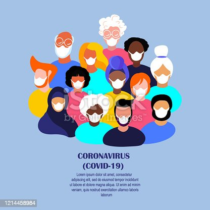 Coronavirus Epidemic Quarantine.Novel COVID 2019-nCoV.Crowd Different People Population,African Young and Old,Pensioners Man,Women in Medical Face Masks. Disinfection Measures.Flat Vector illustration