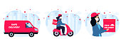 COVID-19. Coronavirus epidemic. Safe Delivery service. Girl Courier in protective masks deliver goods and food on a car, motorbike to people in quarantine. Stay home concept.