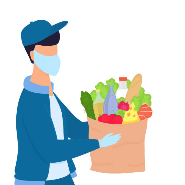 covid-19. coronavirus epidemic. volunteer man is holding a parcel with food. delivery service. - essential workers stock illustrations