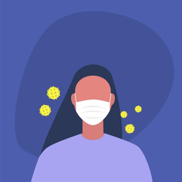 Coronavirus epidemie, jonge vrouwelijke karakter het dragen van een beschermend masker, gezondheidszorgvectorkunst illustratie