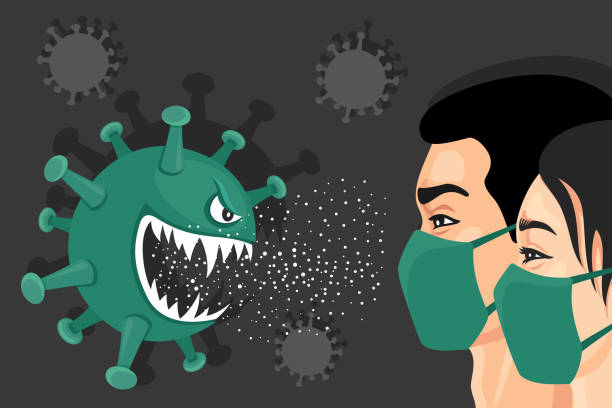 stockillustraties, clipart, cartoons en iconen met coronavirus van aangezicht tot aangezicht. het concept van de affiche. - tears corona
