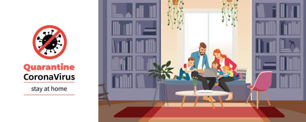 코로나 바이러스. 코로나바이러스 자가 검역 기간 동안 집에서 교육을 받고 교사 또는 부모와 함께 집에서 가족. 화상 회의를 통한 가족 대화. 홈 스쿨링 개념입니다. 벡터 그림입니다. - nursing home stock illustrations