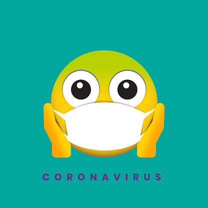 Coronavirus fear emoji concept illustration of disease stock illustration