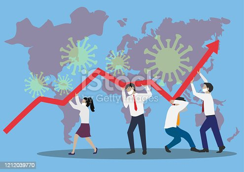 Coronavirus. Financial Crysis Recession Economic concept. Business team searching for investment opportunity.