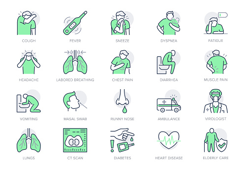 Coronavirus, flu virus symptoms line icons. Vector illustration included icon as cough, fever, lung ct scan, headache, pneumonia prevention outline pictogram for infographic, green color