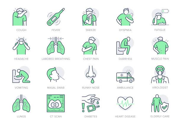 stockillustraties, clipart, cartoons en iconen met coronavirus, griepvirus symptomen lijn pictogrammen. vector illustratie opgenomen pictogram als hoest, koorts, long ct-scan, hoofdpijn, longontsteking preventie overzicht pictogram voor infographic, groene kleur - uitgeput