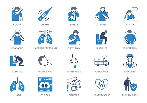 Coronavirus, flue virus symptoms flat icons. Vector illustration included icon as cough, fever, lung ct scan, pneumonia prevention blue silhouette pictogram for medical infographic