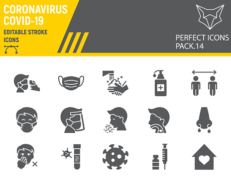 Coronavirus glyph icon set, prevention collection, vector sketches, logo illustrations, covid-19 icons, 2019-ncov signs solid pictograms, editable stroke.