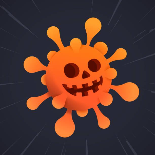 Coronavirus Halloween Scary coronavirus Halloween pandemic symbol background illustration. halloween covid stock illustrations