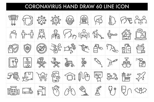 Coronavirus Hand Draw 60 Line Icon