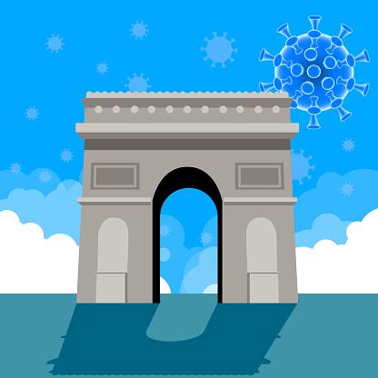 Coronavirus Hologram on Arc de Triomphe Paris France.