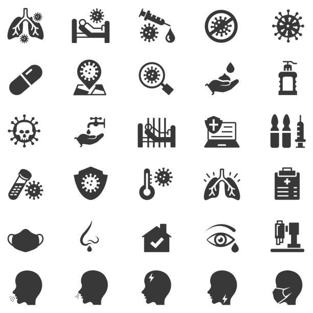 Coronavirus icon set Coronavirus icon set , vector illustration sore throat stock illustrations