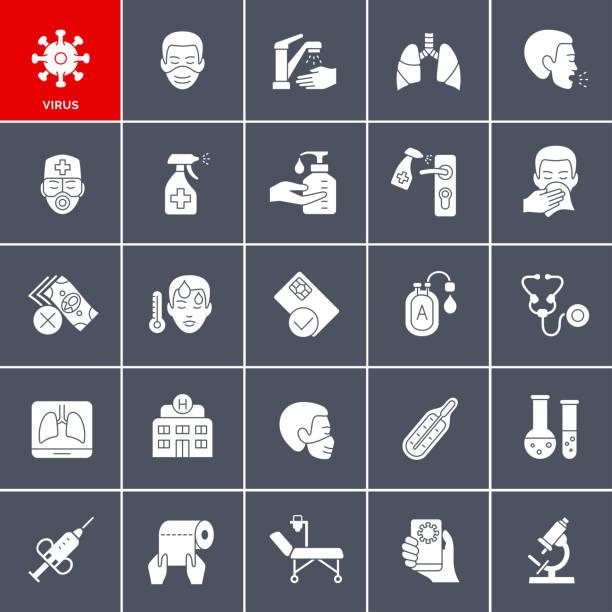 Coronavirus Icon Set vector art illustration