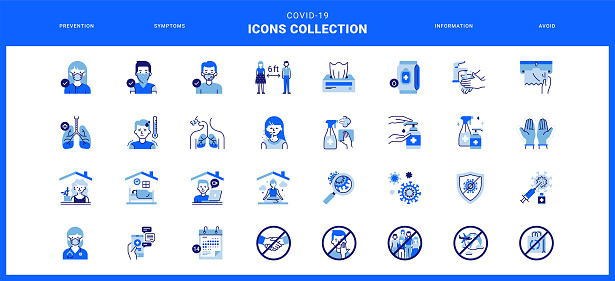 Coronavirus icons collection in blue color