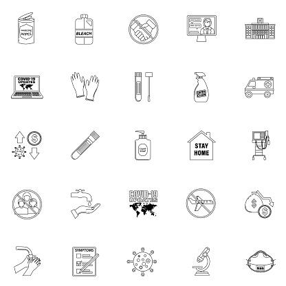 Coronavirus Icons In Thin Line Style