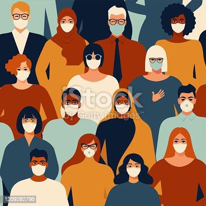 Coronavirus in China. Novel coronavirus (2019-nCoV), people in white medical face mask. Concept of coronavirus quarantine vector illustration pattern.