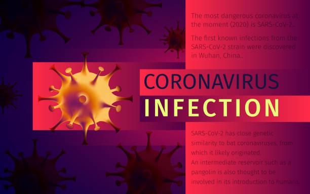 Coronavirus infection awareness poster design. Virus spread prevention information graphic vector art illustration