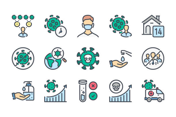 coronavirus infection case rate related color line icon set. covid19 and transmission of coronavirus disease colorful linear icons. coronavirus disease and quarantine flat color outline vector icons. - covid testing stock illustrations