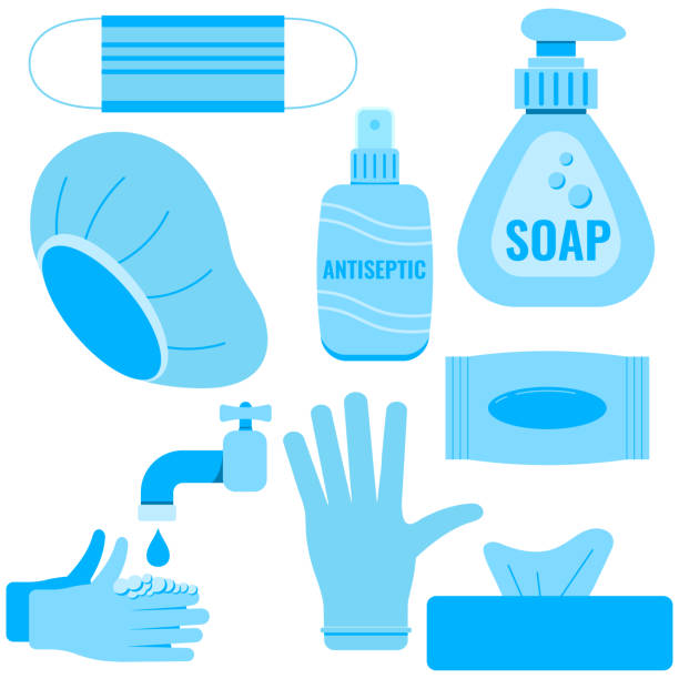 Coronavirus infection prevention icon set isolated on white background. Coronavirus infection prevention icon set isolated on white background. Personal hygiene signs - soap, rubber glove, medical cap, antiseptic, hand washing, wet wipes vector flat design illustration. surgical cap stock illustrations