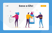 Coronavirus Infection Prevention, Stay Home Disinfection Landing Page Template. Characters Wear Masks, Washing Hands with Disinfectant Gel and Antibacterial Soap. Cartoon People Vector Illustration