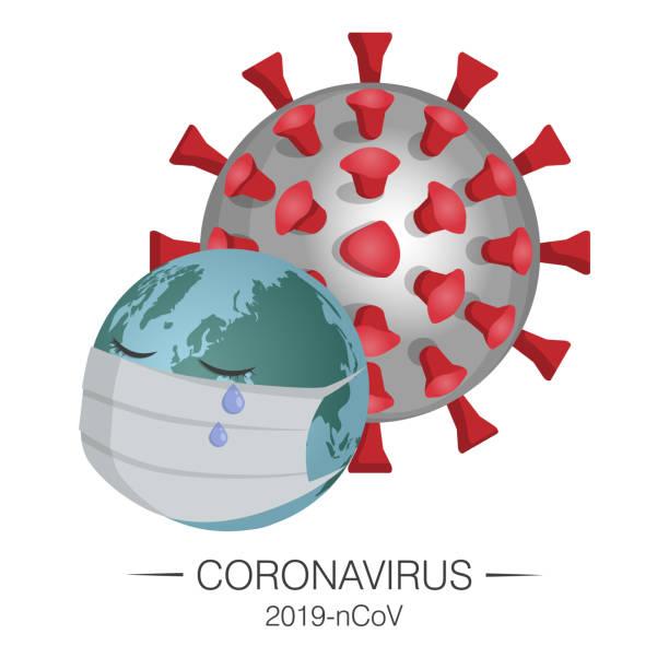 stockillustraties, clipart, cartoons en iconen met coronavirus neemt de aarde over met een medisch masker. microscopisch deeltje van het coronavirus 2019-ncov. - tears corona