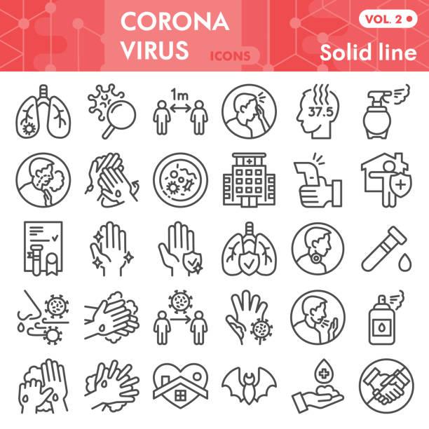 冠狀病毒行圖示集,科維德-19疾病符號集收集或向量草圖。2019-ncov 符號設置為計算機 web,線性象形圖樣式包隔離在白色背景上,eps 10。 - 疫病預防 幅插畫檔、美工圖案、卡通及圖標