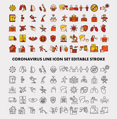 Coronavirus Line Icon Set Editable Stroke