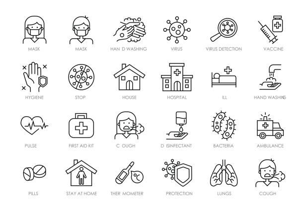 ilustraciones, imágenes clip art, dibujos animados e iconos de stock de icono de línea de coronavirus establecido para infografía o sitio web. incluye iconos como virus, ncov-2019, contagio, infección, máscara quirúrgica, lavado de manos, neumonía, ambulancia, hospital, vacuna. - covid 19 vaccine