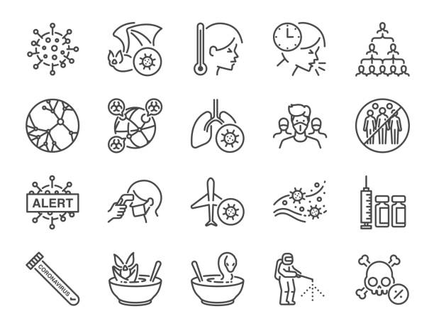 Coronavirus line icon set. Included icons as Wuhan, virus, outbreak, contagious, contagion,infection and more. Coronavirus line icon set. Included icons as Wuhan, virus, outbreak, contagious, contagion,infection and more. epidemic stock illustrations