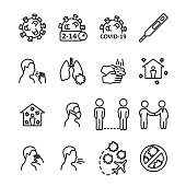 Coronavirus line icon set. Prevention, transmition, advice ant other. Covid-19 virus icon set. Vector. eps10.