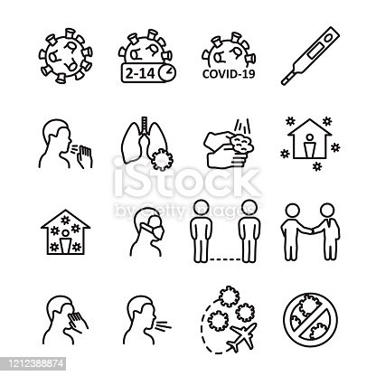 Coronavirus line icon set. Prevention, transmition, advice ant other. Covid-19 virus icon set. Vector. eps10.