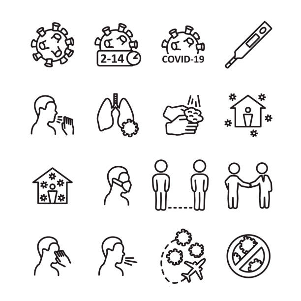 Coronavirus line icon set. Prevention, transmition, advice ant other. Covid-19 virus icon set. Vector. Coronavirus line icon set. Prevention, transmition, advice ant other. Covid-19 virus icon set. Vector. eps10. distant stock illustrations