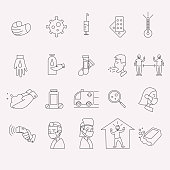 Coronavirus line icon set