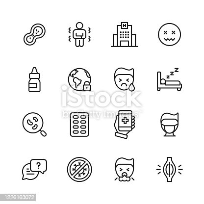 16 Coronavirus Outline Icons. Bacteria, Fever, Hospital, Headache, Sanitizer, Lockdown, Runny Nose, Tiredness, Coronavirus Testing, Antiviral Drug, Telemedicine, Face Mask, Herd Immunity, Coughing, Muscle Pain.