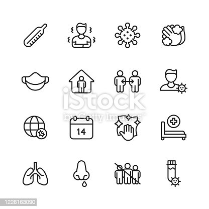 16 Coronavirus Outline Icons. Thermometer, Fever, Virus, Hand Washing, Face Mask, Stay Home, Social Distancing, Flu, Global Pandemic, Quarantine, Disinfection, Hospital Bed, Lung, Runny Nose, Audience-Free Event, Coronavirus Testing.