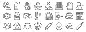 coronavirus line icons. linear set. quality vector line set such as thermometer, virus, outbreak, respirator, police car, military truck, scientist, , disinfectant