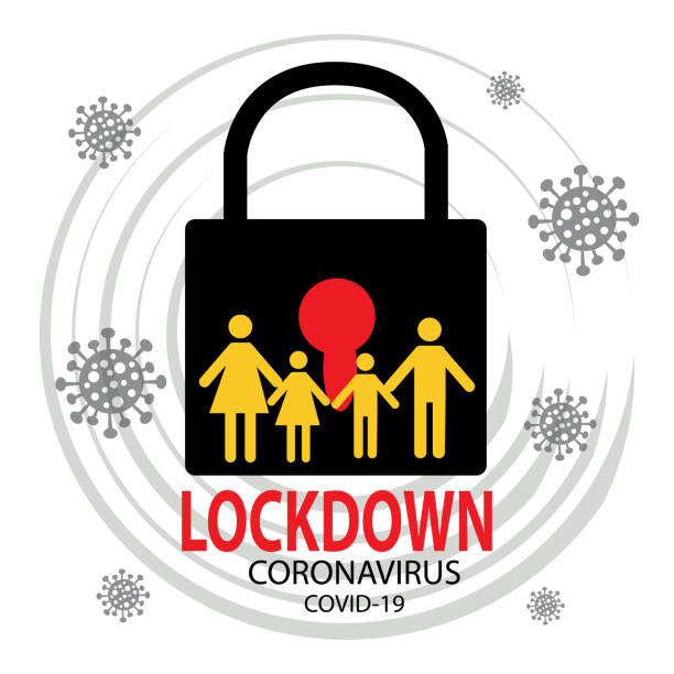 stockillustraties, clipart, cartoons en iconen met coronavirus lockdown symbool. wereldwijd concept voor een waarschuwing voor de gezondheid van pandemieën. - lockdown