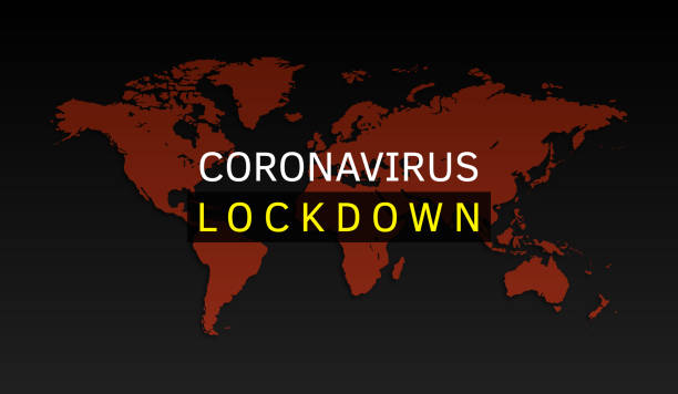 stockillustraties, clipart, cartoons en iconen met coronavirus lockdown. virus gevaar, pandemie, gezondheidsrisico concept vector illustratie. - lockdown