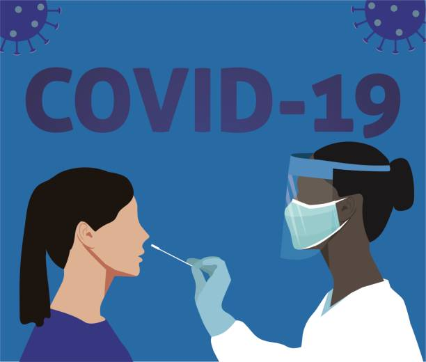 stockillustraties, clipart, cartoons en iconen met coronavirus medische testen - test