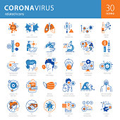 Vibrant modern icons set including 30 icons related with COVID-19 disease-pandemic. Set also includes icons related with media, information platforms, apps, fake news, second wave…