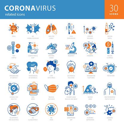 Coronavirus Modern Icons Blue Orange