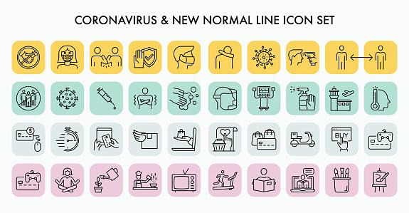 Coronavirus New Normal Line Icon Set