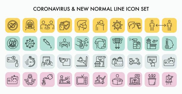 ilustraciones, imágenes clip art, dibujos animados e iconos de stock de conjunto de iconos de línea nueva de coronavirus - covid 19 vaccine