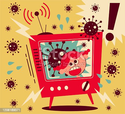 Healthcare and medicine vector art illustration. Coronavirus news arouses much fear, girl screaming on TV.