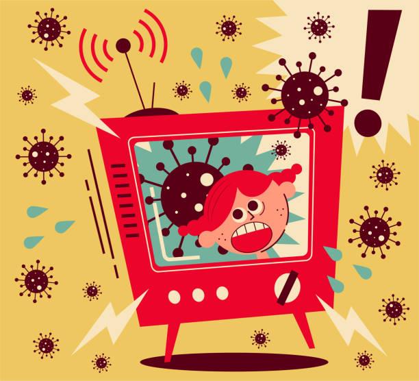 Coronavirus news arouses much fear, girl screaming on TV Healthcare and medicine vector art illustration. Coronavirus news arouses much fear, girl screaming on TV. anxiety stock illustrations