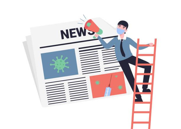 coronavirus news, newspaper, man with shout vector art illustration