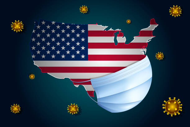 Coronavirus or Corona virus concept. USA in a medical mask protects itself from nCoV Coronavirus or Corona virus concept. Map with flag of United States of America on background in a medical mask protects itself from nCoV. Viruses Around the US. sudden acute respiratory syndrome stock illustrations